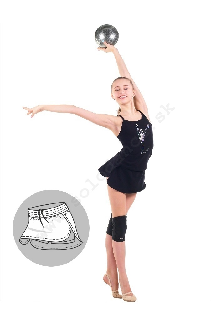 Gymnastic Skirt with Shorts SOLO FD765, black, size 146