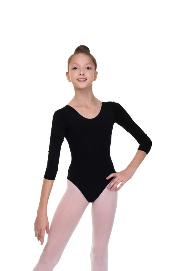 3/4 Sleeve Gymnastics Leotard SOLO FD927 black size 164/S
