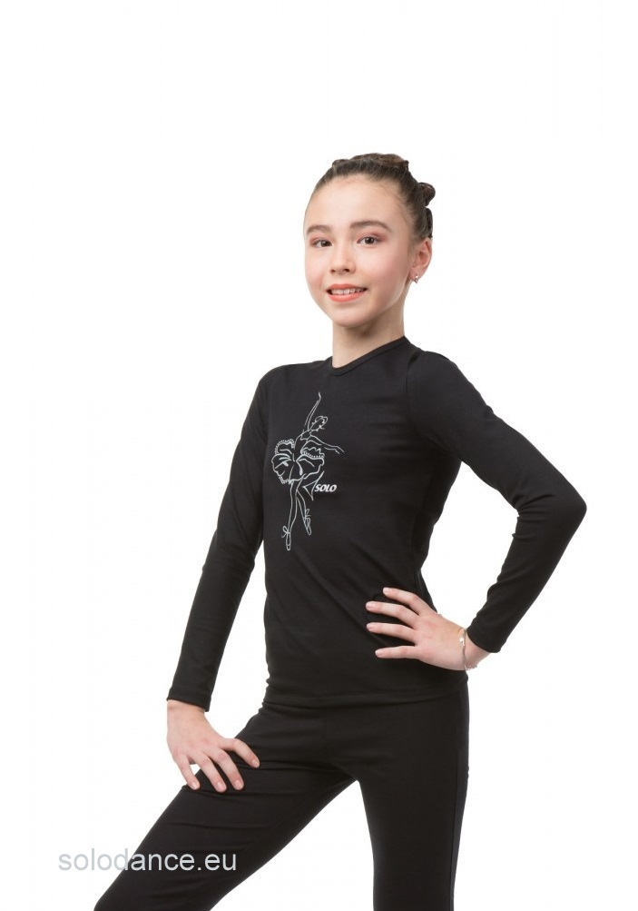 "Ballet-Dance Long Sleeve T-shirt  SOLO BA654.1 with print ""Ballerina"" black size 116."
