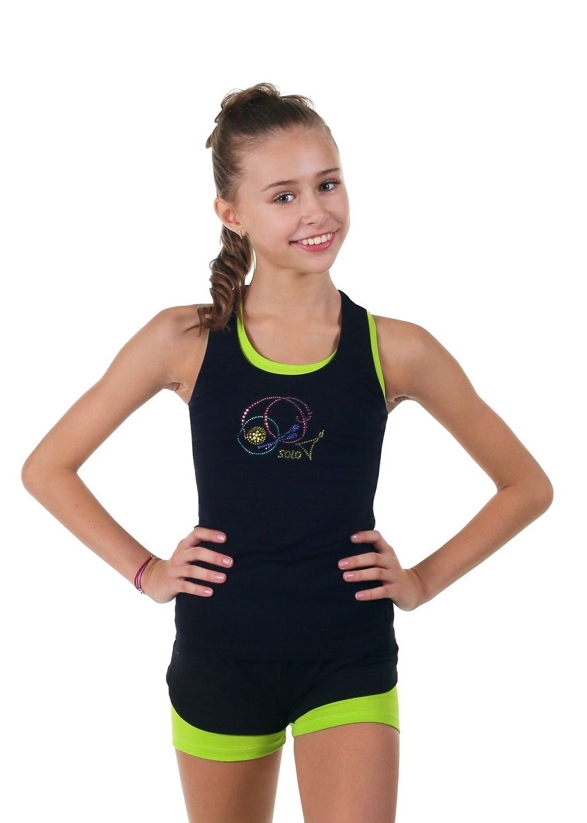 "Rhythmic gymnastics racerback tank top with crystals SOLO RG 402.15 ""Rhythmic gymnastics apparatus"""