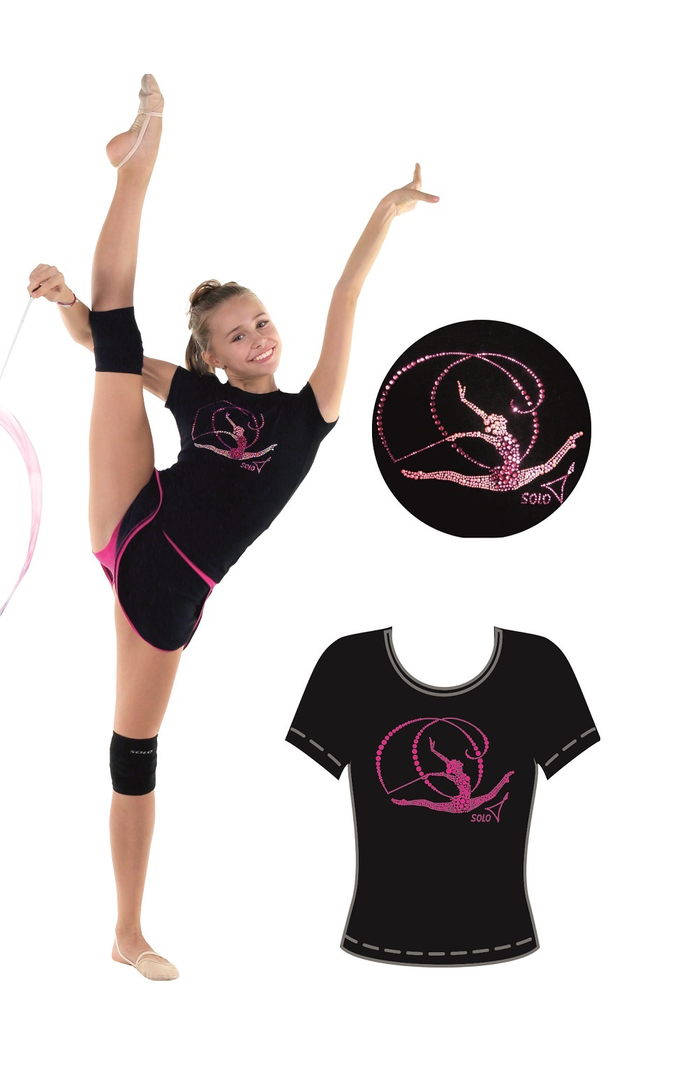 T-shirt with stones SOLO RG 650.18 Gymnast with ribbon