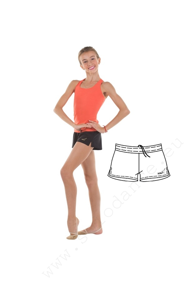 Loose gymnastics shorts with side slits SOLO RG762 size 158