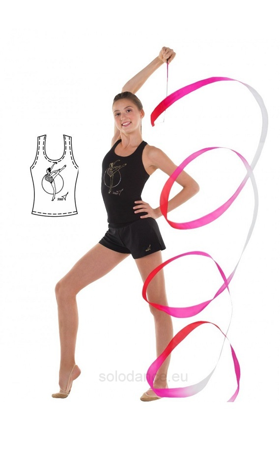 "Rhythmic gymnastics racerback tank top with gold print and crystals SOLO RG402.11 ""Gymnast with hoop"" black size 152"