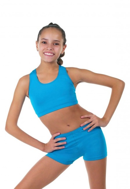 Gymnastics racerback top SOLO RG403 turquoise color, size 152